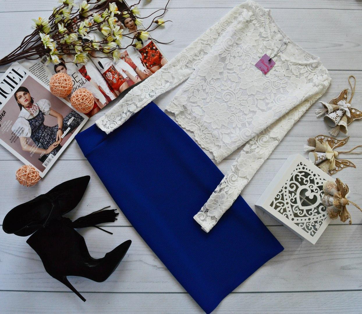 Женский костюм: кофта с длинными рукавами с набивного гипюра молоко + юбка миди кукуруза синий