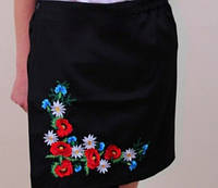 Красивая вышитая юбка - маки ромашки и васельки