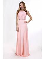 Вечернее платье длинной в пол нежно розовое