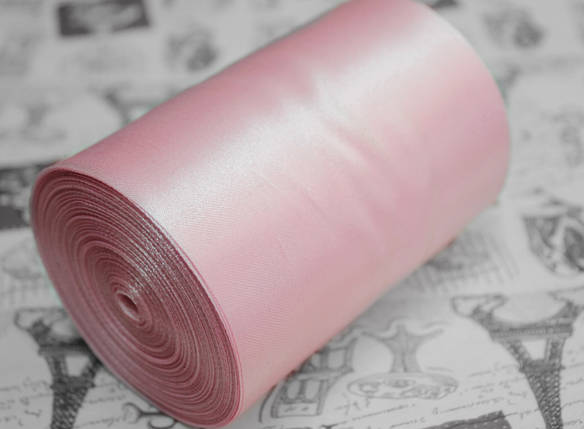Лента атласная розовая (ширина 10см, намотка 20м), фото 2