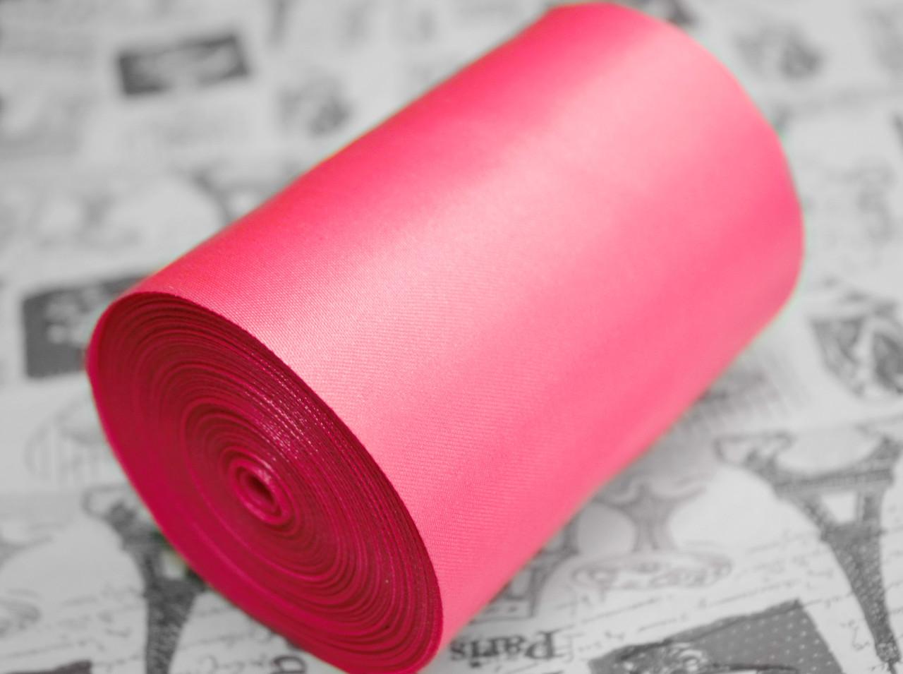 Лента атласная ярко- розовая (ширина 10см, намотка 20м)