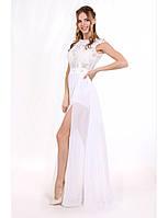 Шикарное белое платье с разрезом