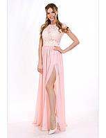 Шикарное  платье с разрезом и гипюровым верхом