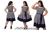 Летнее платье с клешной юбкой, размер 48,50,52,54. Ткань вискозный стрейч-софт