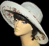 Женская шляпка Поляна молоко+прованс беж красивая летняя, модная , льняная с полями молодежная