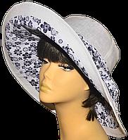 Женская шляпка Поляна белая+синие ромашки  красивая летняя, модная , льняная с полями молодежная
