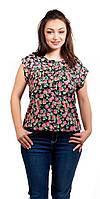 Летняя женская цветная блузка черного цвета с цветами