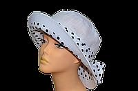 Женская шляпка  Маленькая поляна лен белая + горох  красивая летняя, модная , льняная с полями молодежная