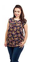 Летняя женская цветная блузка черного цвета с огуречным принтом