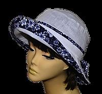 Женская шляпка  Маленькая поляна лен белая + ромашка  красивая летняя, модная , льняная с полями молодежная
