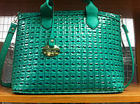 РАСПРОДАЖА  женская лаковая зеленая сумка деловая хорошего качества лак всесезонка