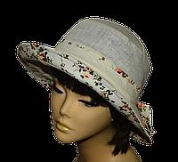 Женская шляпка  Маленькая поляна молоко+прованс беж  красивая летняя, модная , льняная с полями молодежная