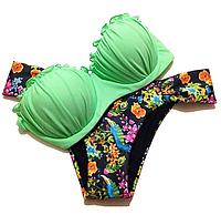 Купальники  бандо с пуш ап- зеленый лиф
