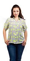 Женская летняя рубашка в сердечки желтая