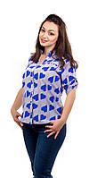 Женская летняя рубашка в сердечки синяя