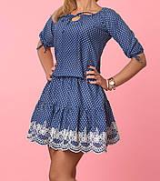 Платье джинсового цвета в мелкий горошек
