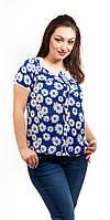 Женская летняя блузка увеличенный размер с планкой в ромашки