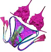 Купальники бикини с рюшами, ярко-розовый.