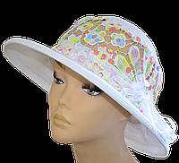 """Женская шляпка  """" Ялта ажурная белый+конфетти"""" красивая летняя, модная , льняная с полями молодежная"""