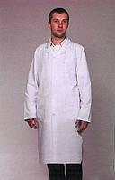 Белый мужской медицинский халат на пуговицах с длинным рукавом