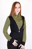 Оригинальный женский гольф в полоску желтого цвета Код:465643659