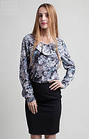 Модная серая блузка с узором хорошего качества Код:476466327