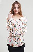 Модная белая блузка с цветочным принтом на длинный рукав