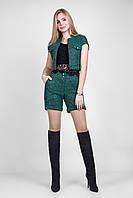 Оригинальный зеленый костюм - жакет+ шорты+ топ, из качественного трикотажа