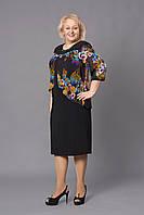 Модное трикотажное платье увеличенных размеров с шифоном в цветочный принт