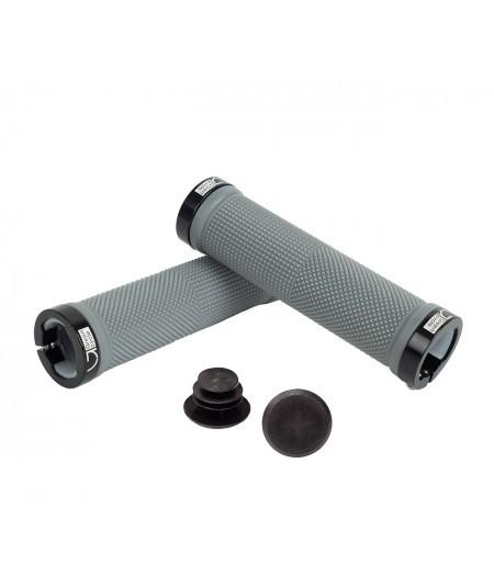 Грипсы Green Cycle GC-G201 130mm серый с двумя черными замками