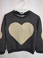 Детская темно-серая кофта с принтом сердечко. Размеры: 116-146