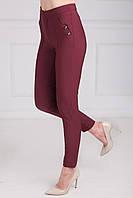 Красивые женские брюки с кантами и завышенной талией, вишневого цвета