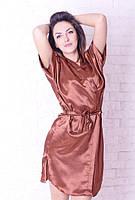 Сатиновый женский халатик и ночная рубашка з кружевом, шоколадного цвета