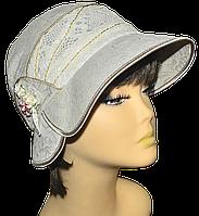 """Женская шляпка  """" Эстер темный лен"""" красивая летняя, модная , льняная   с полями молодежная"""