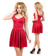 Замшевое платье с полу-открытой спиной, бордовое