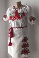 Женское платье вышиванка маки короткий рукав