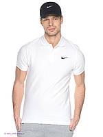 Футболка мужская поло Nike хлопок белая с вышитым лого
