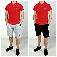 Футболка мужская поло Reebok хлопок красная с вышитым лого