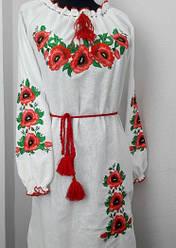 Женское платье вышиванка маки