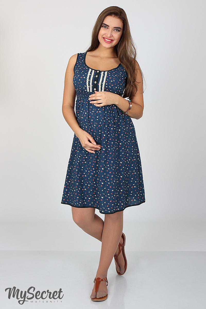 Сарафан для беременных и кормления Bianka SF-27.071, мелкий цветок на темно-синем