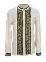 Вязаная вышиванка зеленая Крестики | В'язана вишиванка зелена Хрестики