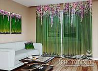 """ФотоТюль """"Ламбрекен из цветов. Зеленые"""" (2,5м*4,5м, на длину карниза 3,0м)"""