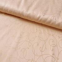 Ткань скатертная жаккардовая персиковая с вензелем с шириной 150 см , фото 1