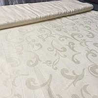 Ткань скатертная жаккардовая кремовая с вензелем с шириной 150 см , фото 1