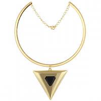Золотое колье под шею с большим кулоном -треугольник