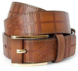 Класичний чоловічий ремінь з тисненням у коричневому кольорі в стилі Burberry (11245)