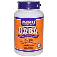GABA/ГАБА/ГАМК 100 капс  750 мг для мозгового кровообращения улучшение сна памяти Now Foods USA