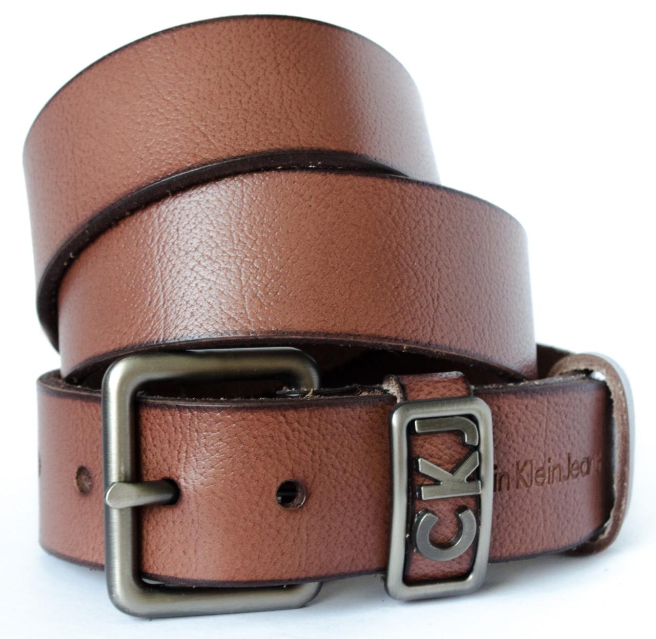 Джинсовый мужской кожаный ремень в коричневом цвете в стиле Calvin Klein