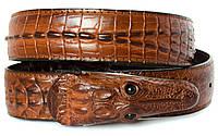 Брутальный мужской ремень с головой крокодила в коричневом цвете (копирующий текстуру кожу крокодила) (11247)