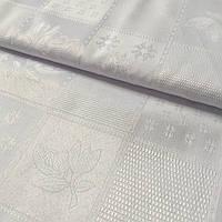 Ткань скатертная жаккардовая с белыми квадратами с рисунками с шириной 150 см , фото 1